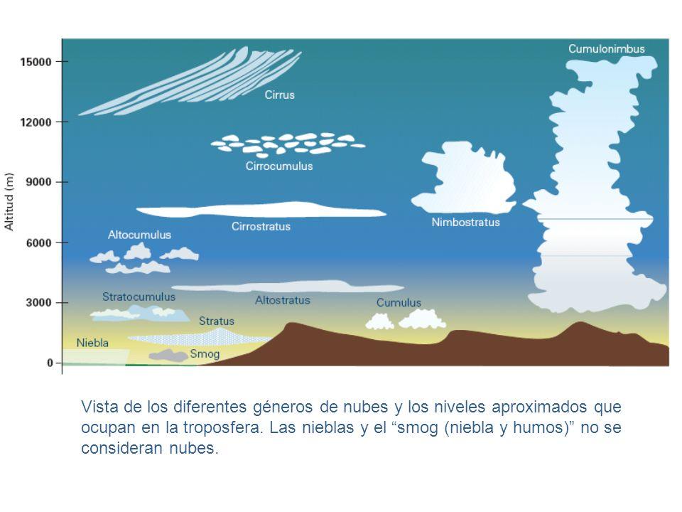 Vista de los diferentes géneros de nubes y los niveles aproximados que ocupan en la troposfera.