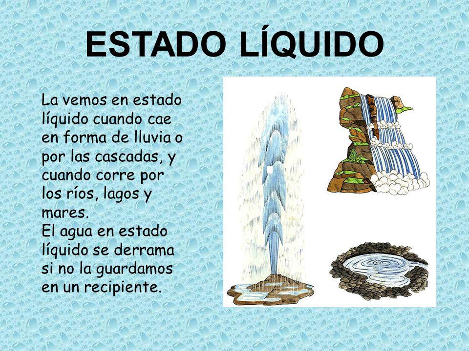 ESTADO LÍQUIDOLa vemos en estado líquido cuando cae en forma de lluvia o por las cascadas, y cuando corre por los ríos, lagos y mares.