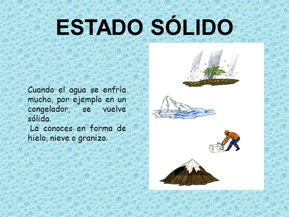 ESTADO SÓLIDO Cuando el agua se enfría mucho, por ejemplo en un congelador, se vuelve sólida.
