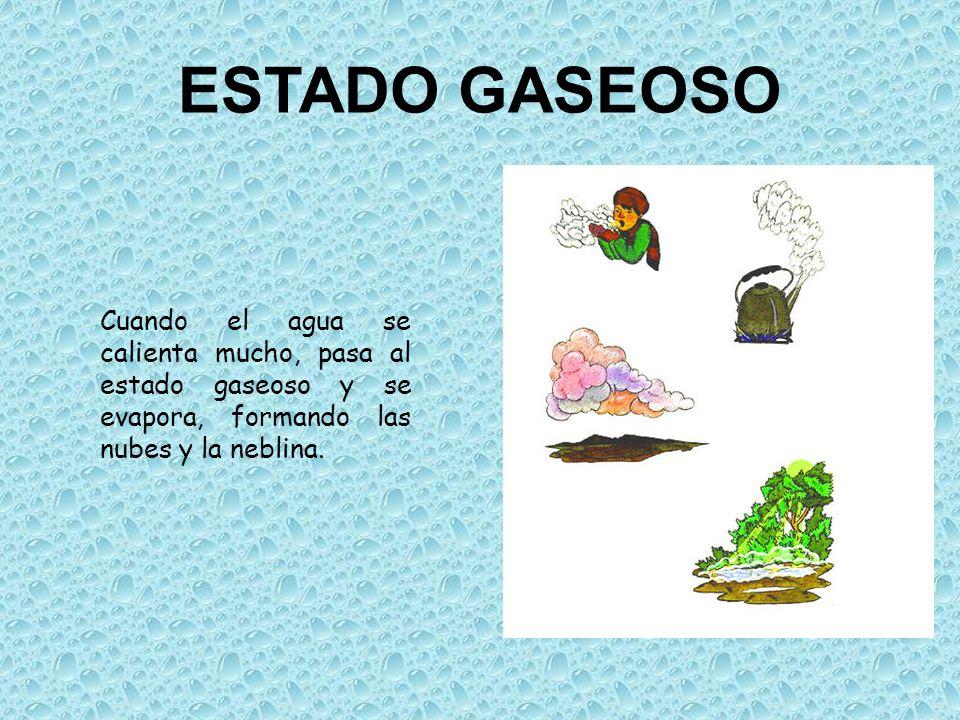 ESTADO GASEOSOCuando el agua se calienta mucho, pasa al estado gaseoso y se evapora, formando las nubes y la neblina.