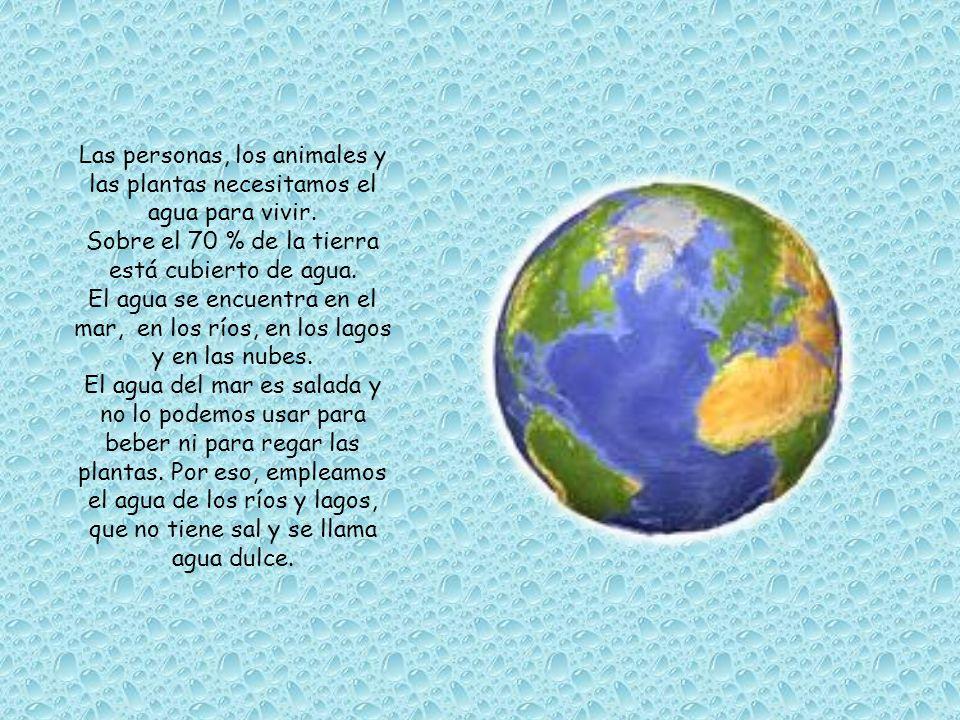 Sobre el 70 % de la tierra está cubierto de agua.