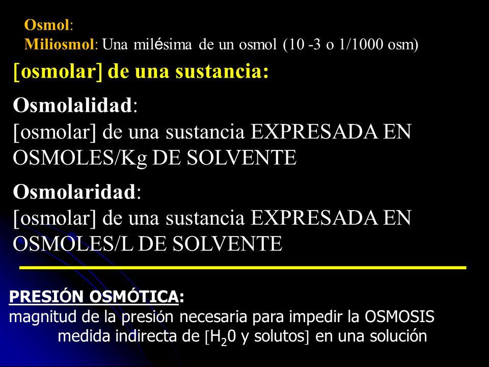 osmolar de una sustancia: Osmolalidad: