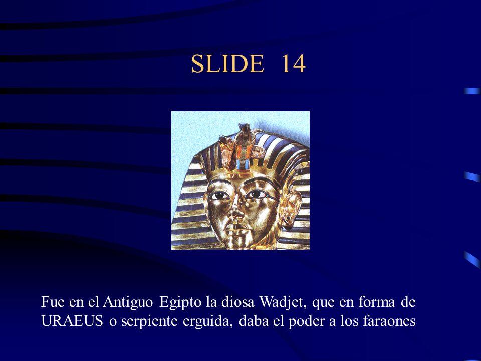 SLIDE 14 Fue en el Antiguo Egipto la diosa Wadjet, que en forma de URAEUS o serpiente erguida, daba el poder a los faraones.