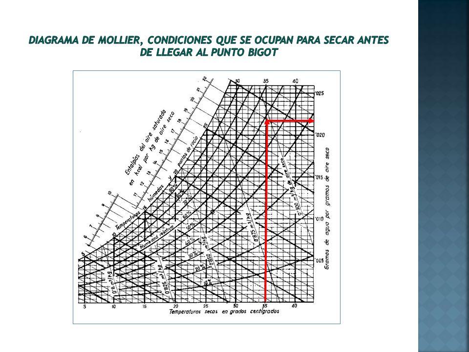 Diagrama de Mollier, condiciones que se ocupan para secar antes de llegar al punto Bigot