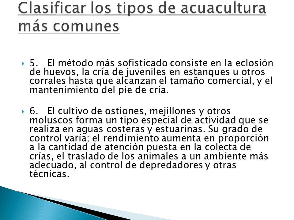 Clasificar los tipos de acuacultura más comunes