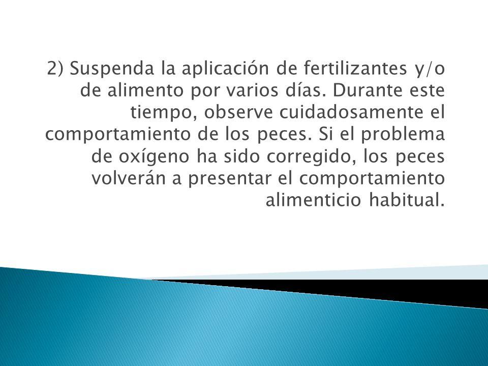 2) Suspenda la aplicación de fertilizantes y/o de alimento por varios días.