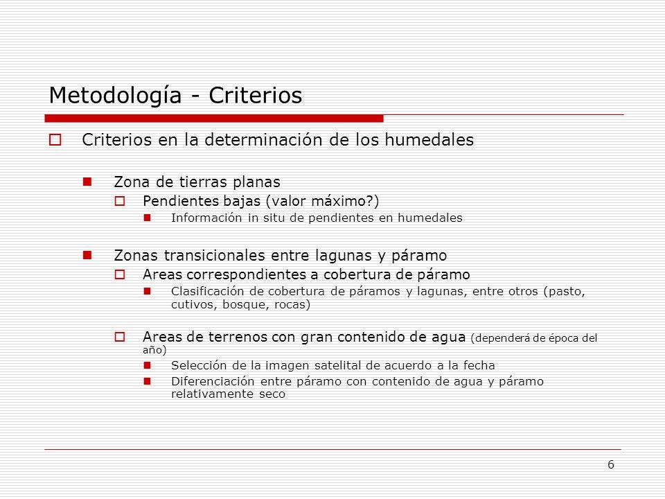 Metodología - Criterios
