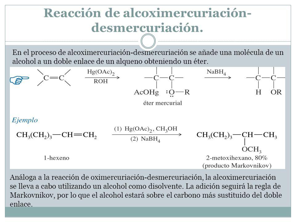 Reacción de alcoximercuriación-desmercuriación.