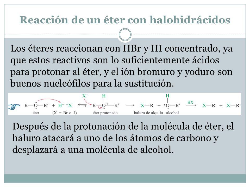 Reacción de un éter con halohidrácidos