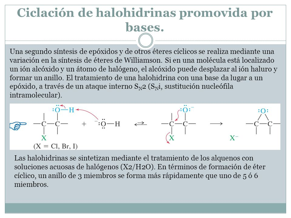 Ciclación de halohidrinas promovida por bases.