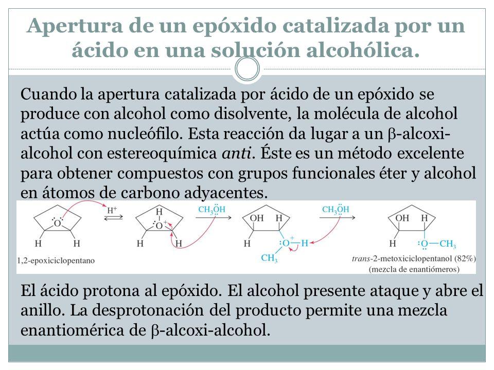 Apertura de un epóxido catalizada por un ácido en una solución alcohólica.
