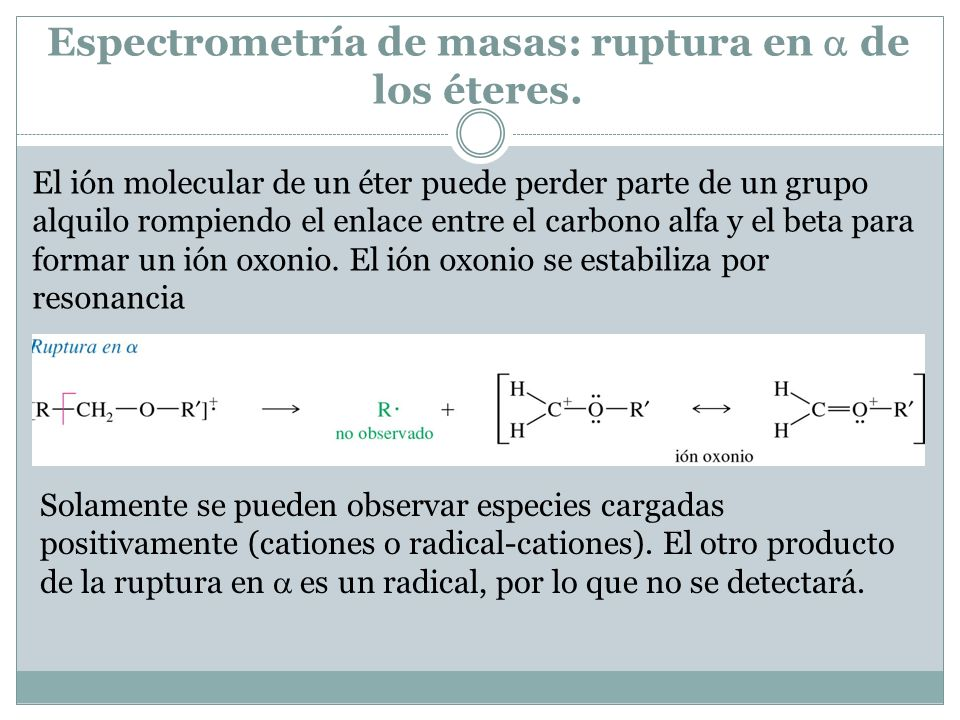 Espectrometría de masas: ruptura en de los éteres.