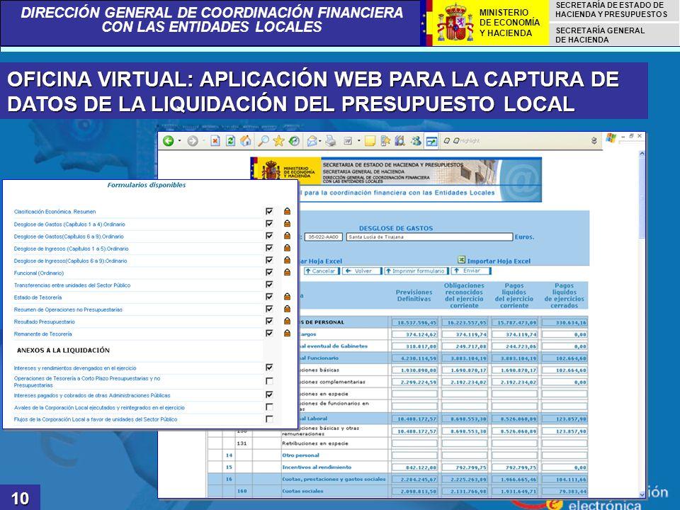OFICINA VIRTUAL: APLICACIÓN WEB PARA LA CAPTURA DE DATOS DE LA LIQUIDACIÓN DEL PRESUPUESTO LOCAL