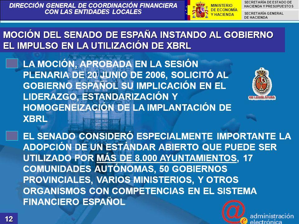 MOCIÓN DEL SENADO DE ESPAÑA INSTANDO AL GOBIERNO EL IMPULSO EN LA UTILIZACIÓN DE XBRL