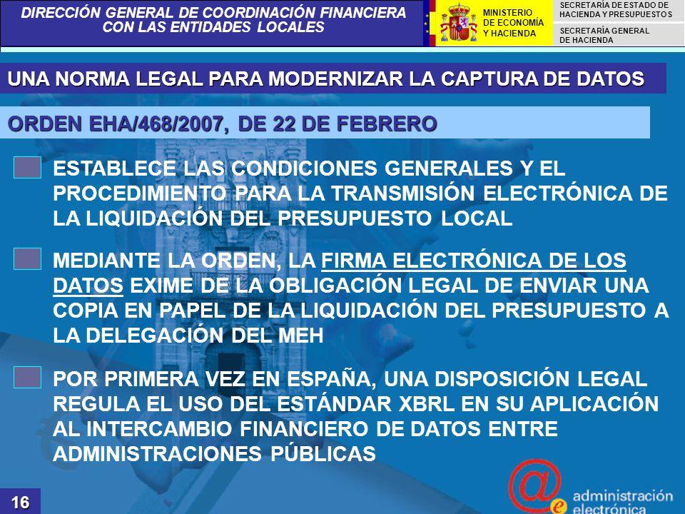 ORDEN EHA/468/2007, DE 22 DE FEBRERO