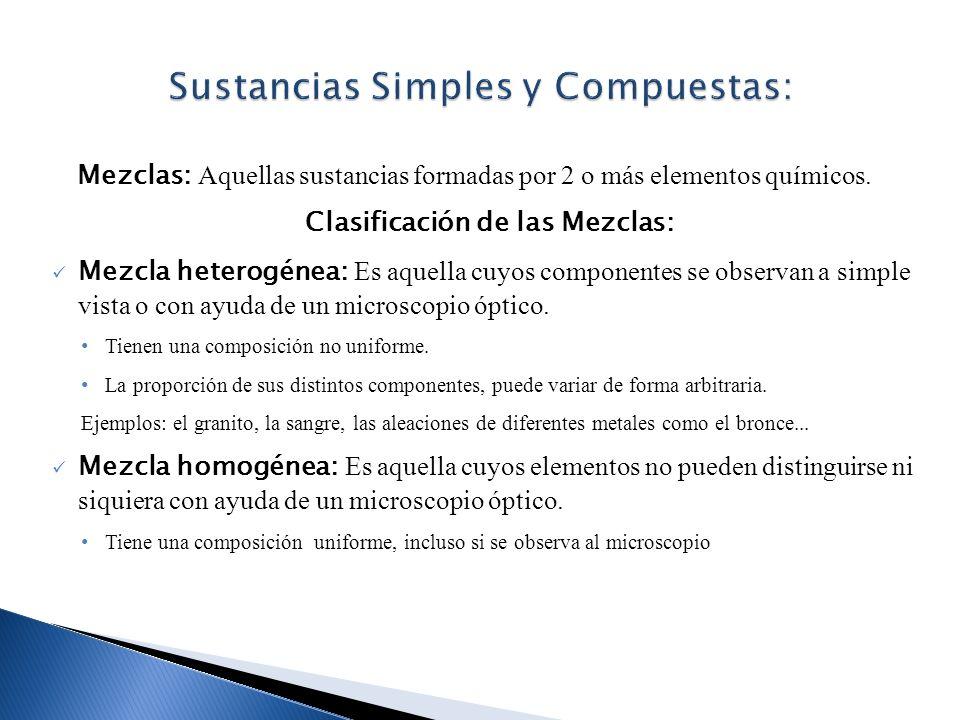 Sustancias Simples y Compuestas: