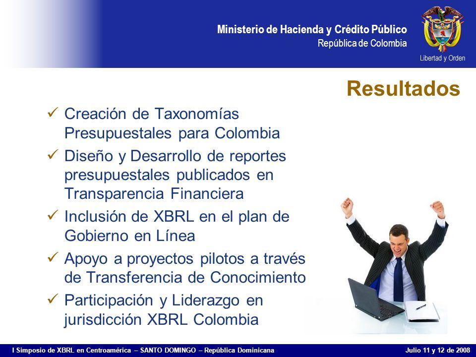 Resultados Creación de Taxonomías Presupuestales para Colombia