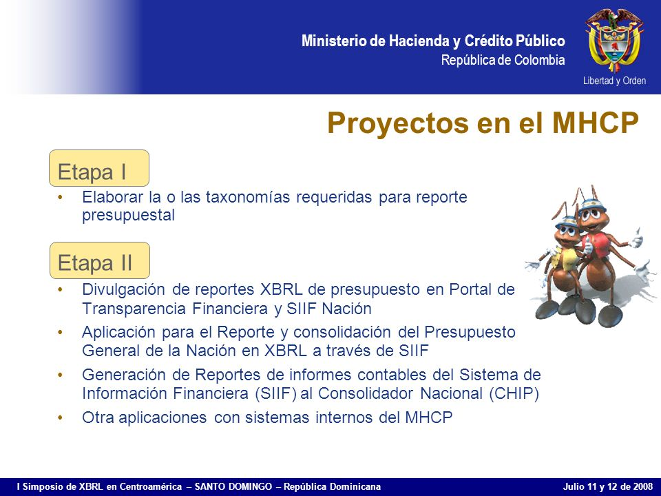 Proyectos en el MHCP Etapa I Etapa II