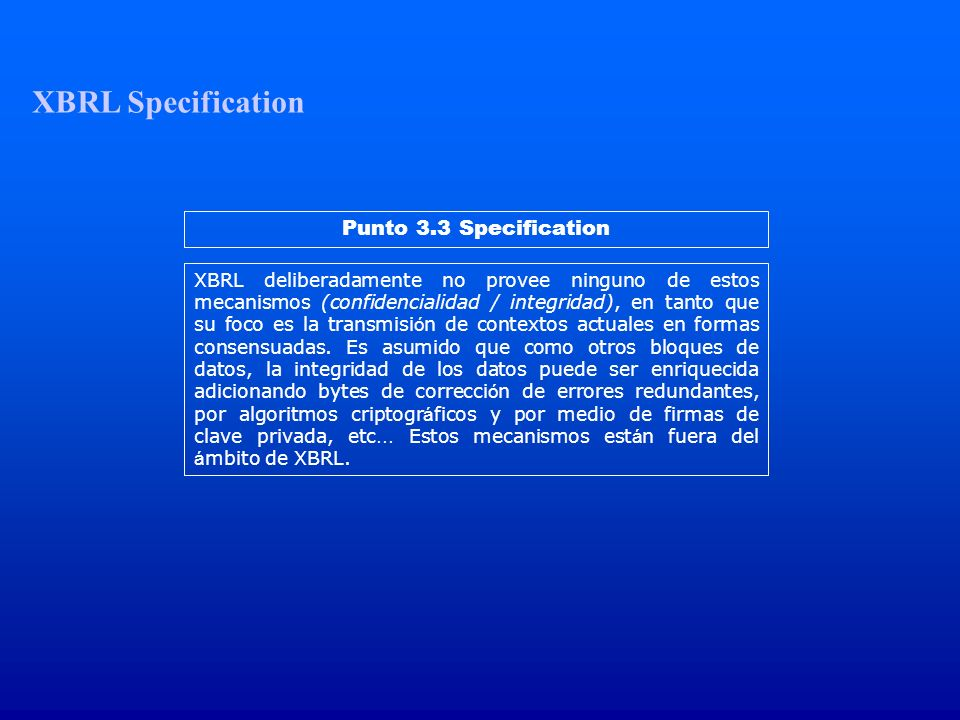 XBRL Specification Punto 3.3 Specification