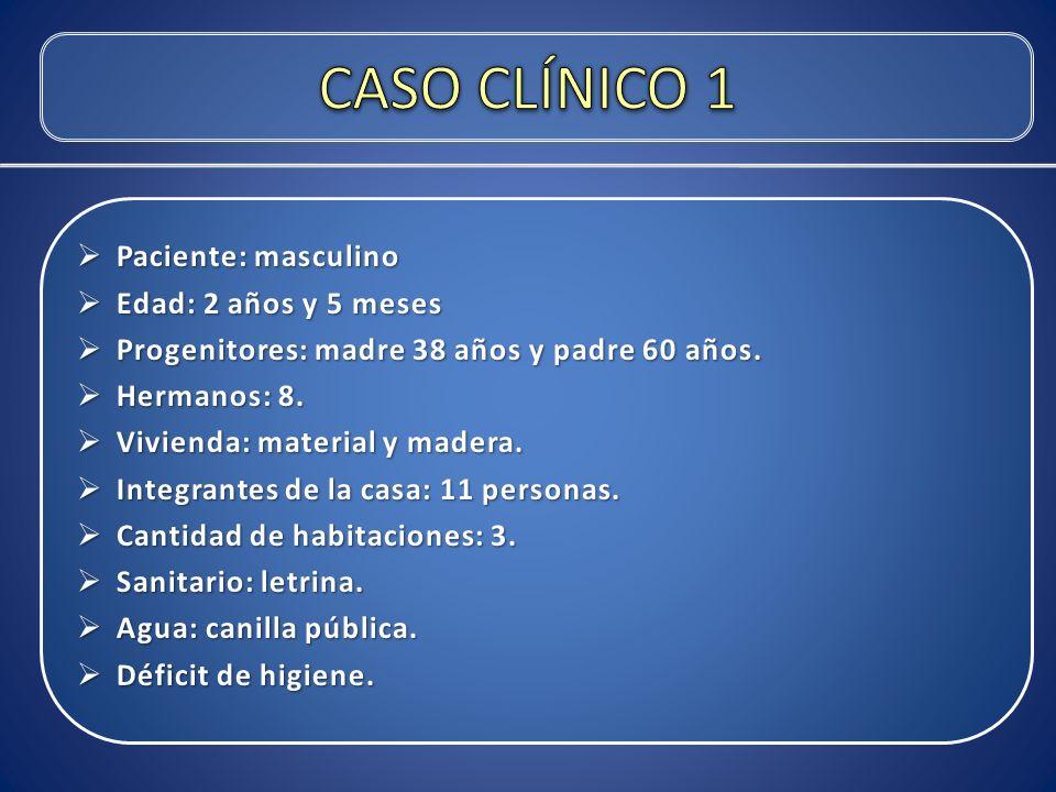 CASO CLÍNICO 1 Paciente: masculino Edad: 2 años y 5 meses