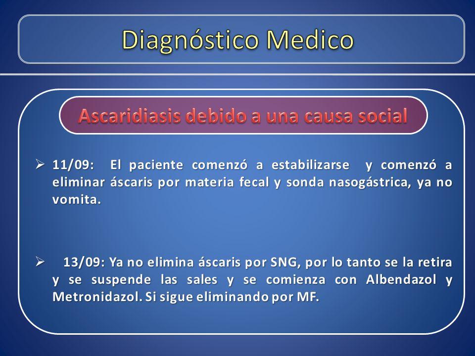 Ascaridiasis debido a una causa social