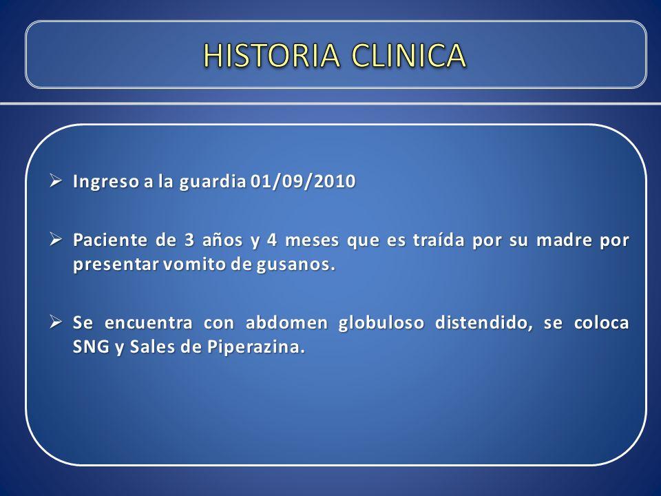 HISTORIA CLINICA Ingreso a la guardia 01/09/2010