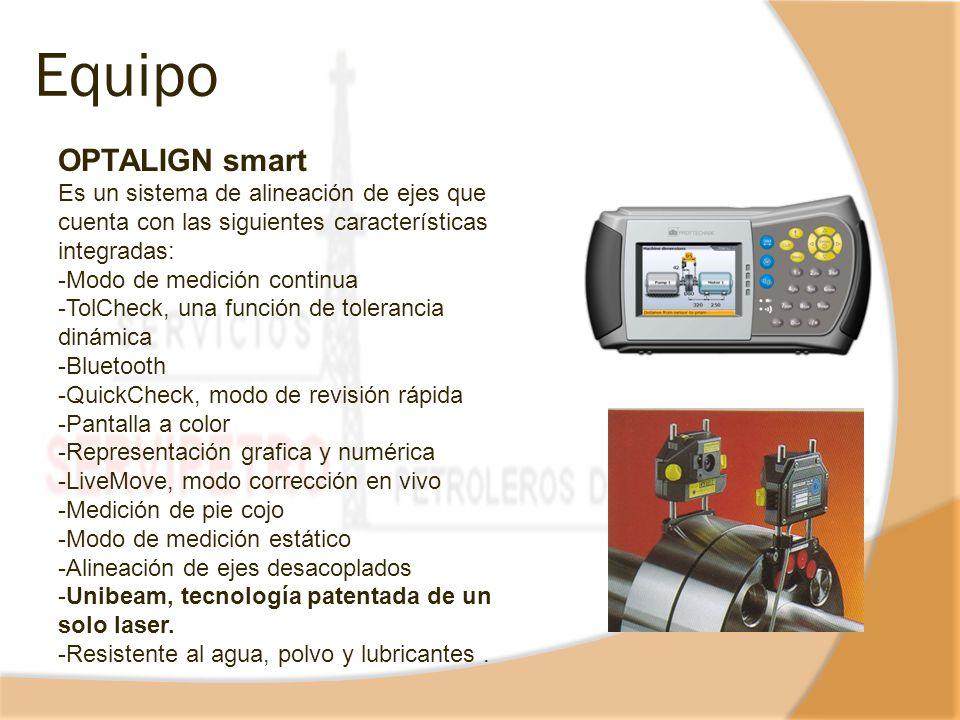 Equipo OPTALIGN smart. Es un sistema de alineación de ejes que cuenta con las siguientes características integradas:
