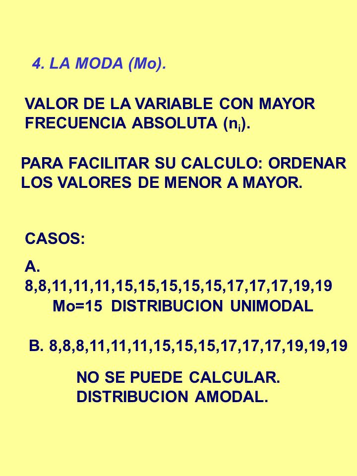 4. LA MODA (Mo). VALOR DE LA VARIABLE CON MAYOR FRECUENCIA ABSOLUTA (ni). PARA FACILITAR SU CALCULO: ORDENAR LOS VALORES DE MENOR A MAYOR.