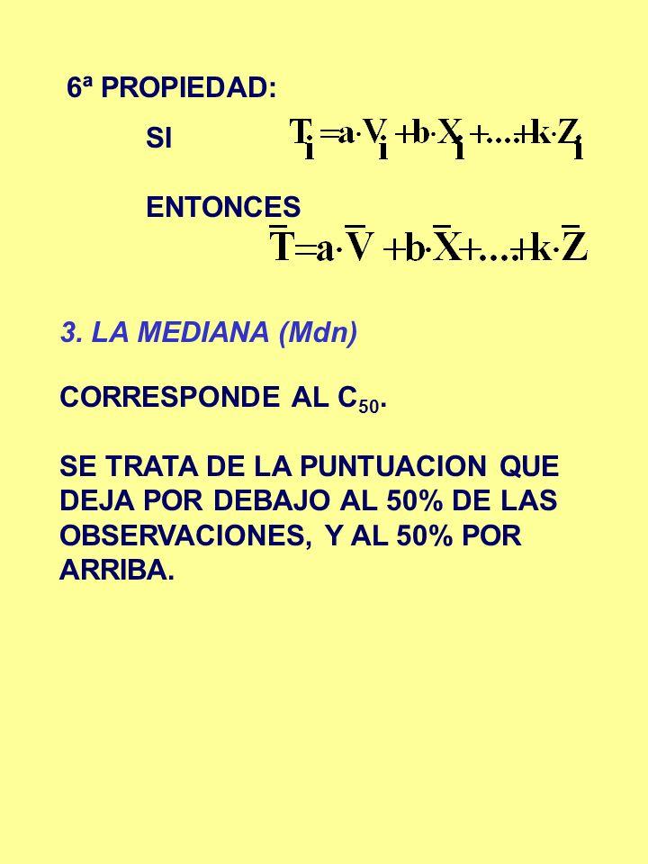 6ª PROPIEDAD: SI. ENTONCES. 3. LA MEDIANA (Mdn) CORRESPONDE AL C50.