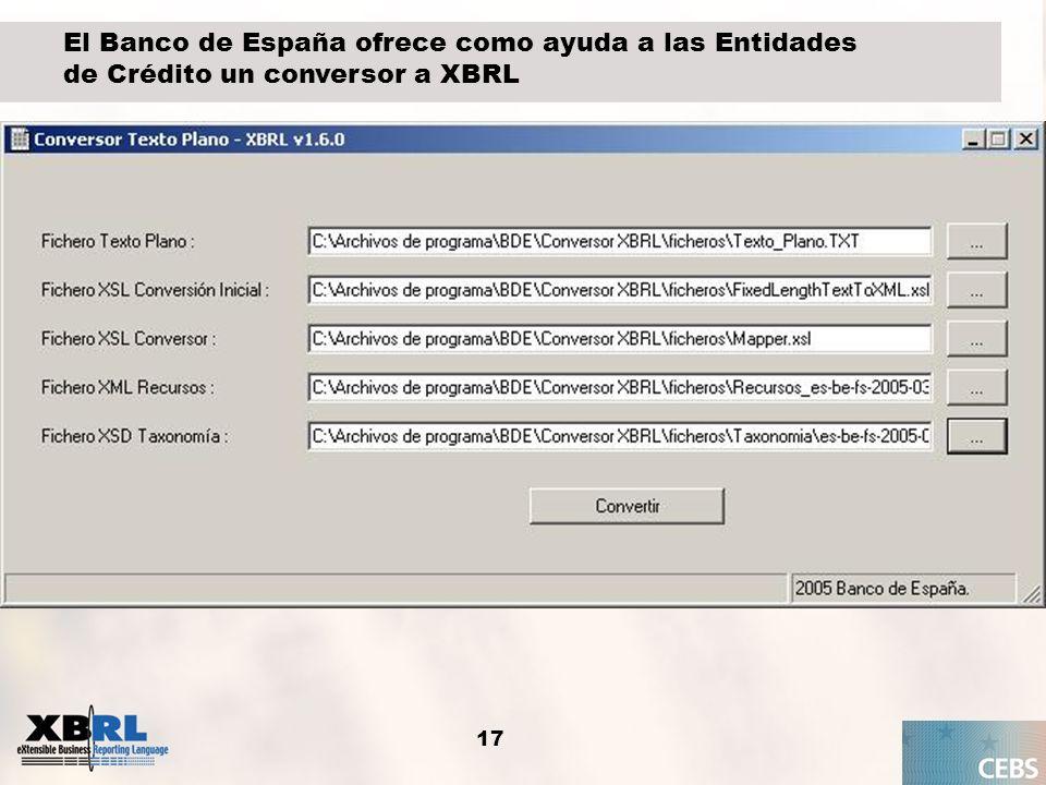 El Banco de España ofrece como ayuda a las Entidades de Crédito un conversor a XBRL