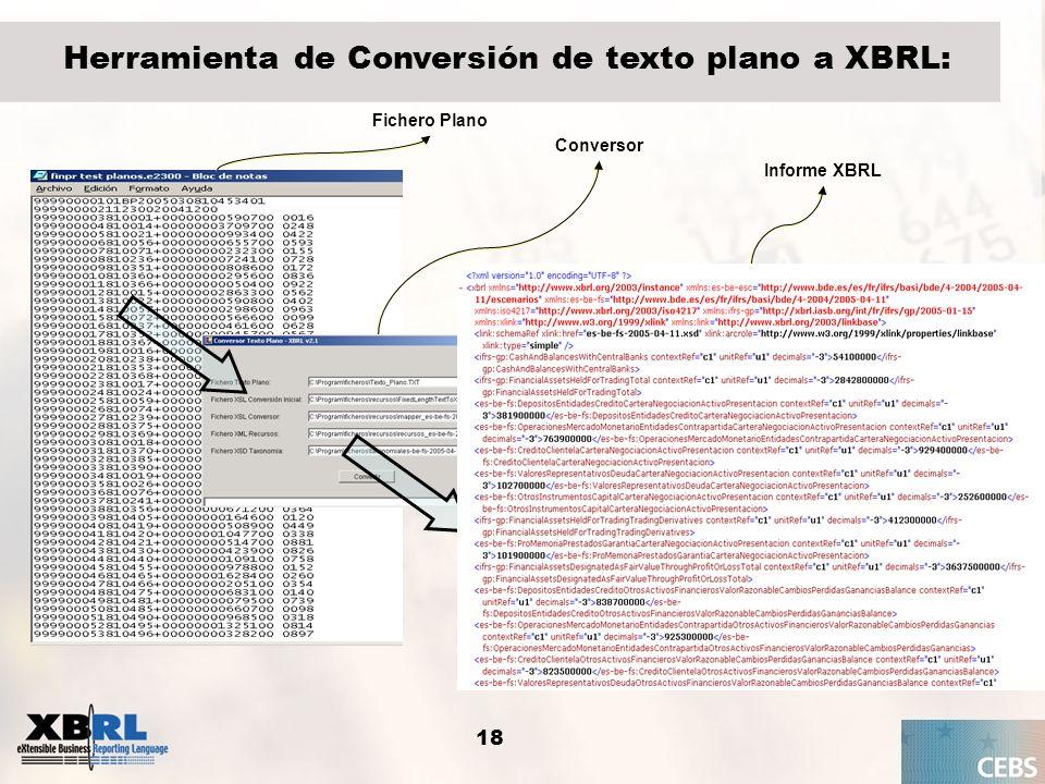 Herramienta de Conversión de texto plano a XBRL: