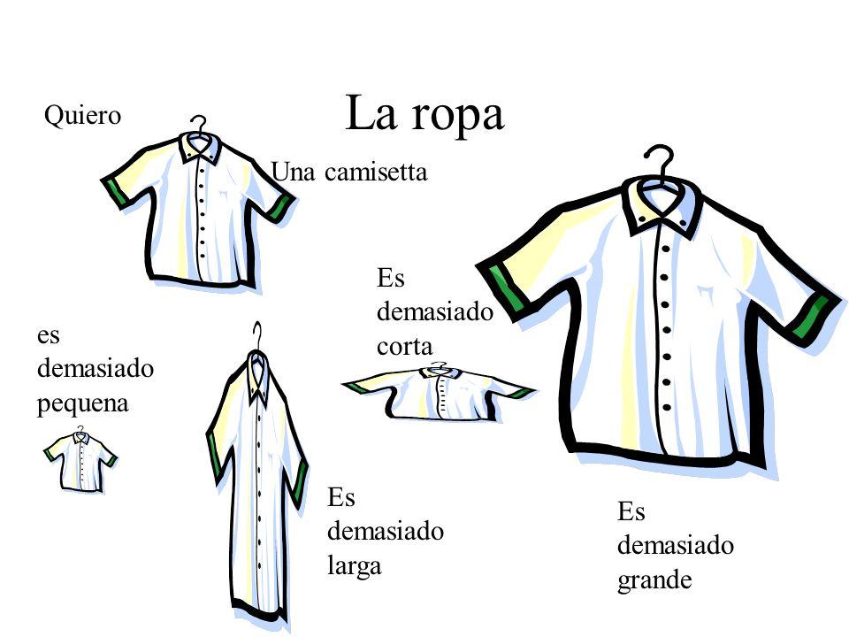 La ropa Quiero Una camisetta Es demasiado corta es demasiado pequena