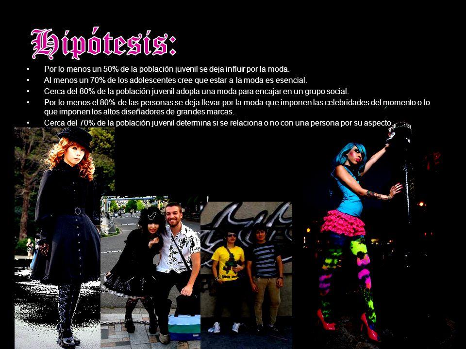 Hipótesis: Por lo menos un 50% de la población juvenil se deja influir por la moda.