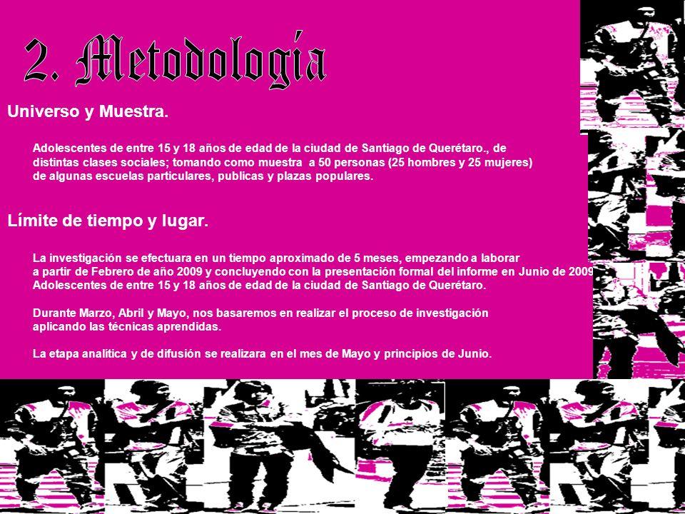 2. Metodología Universo y Muestra. Límite de tiempo y lugar.