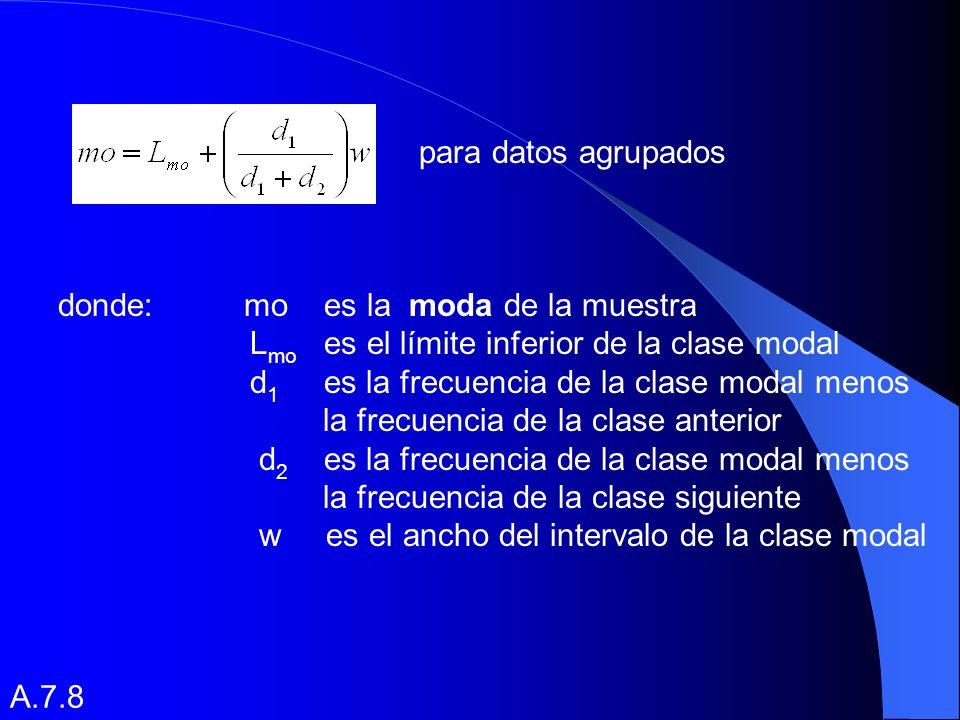 para datos agrupados donde: mo es la moda de la muestra. Lmo es el límite inferior de la clase modal.
