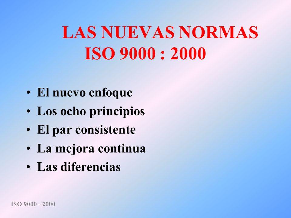 LAS NUEVAS NORMAS ISO 9000 : 2000 El nuevo enfoque Los ocho principios