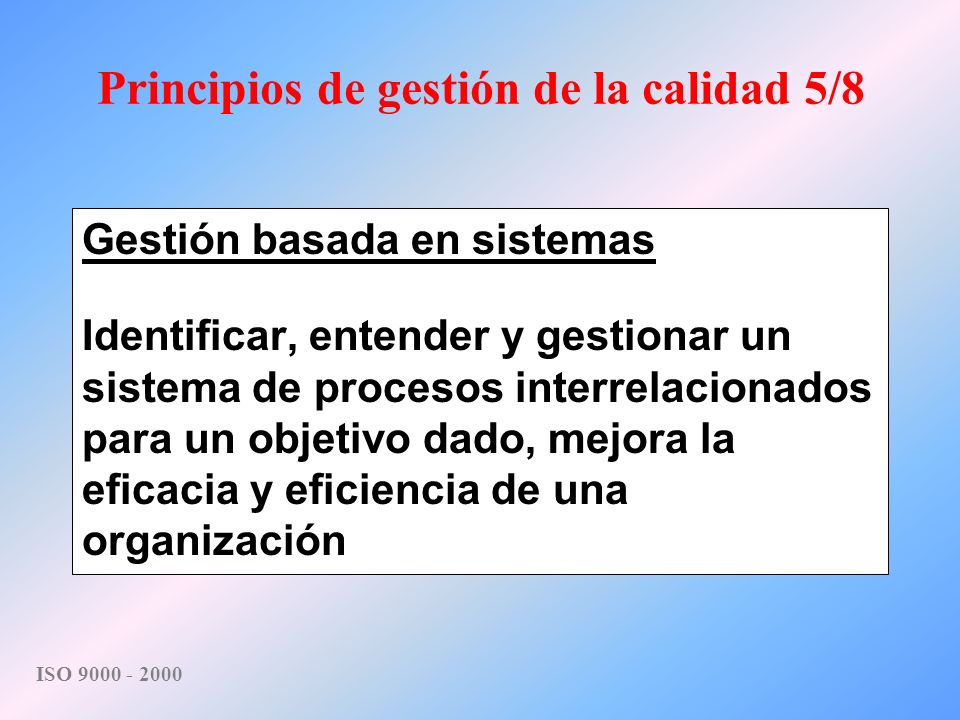 Principios de gestión de la calidad 5/8