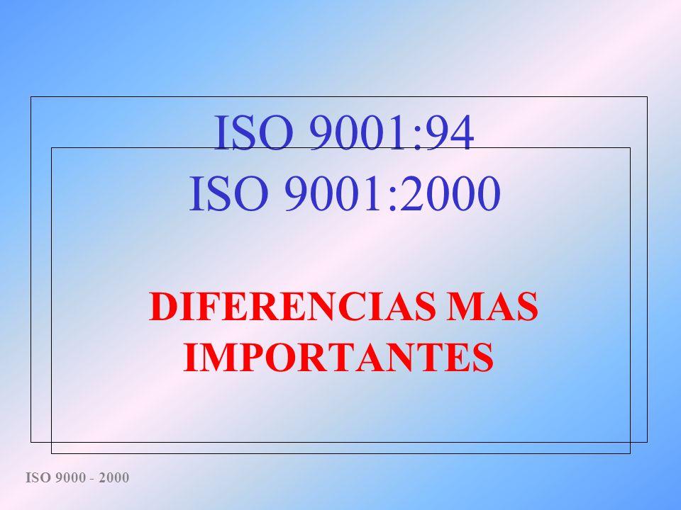 ISO 9001:94 ISO 9001:2000 DIFERENCIAS MAS IMPORTANTES