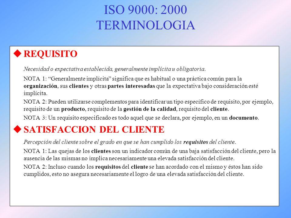 ISO 9000: 2000 TERMINOLOGIA REQUISITO