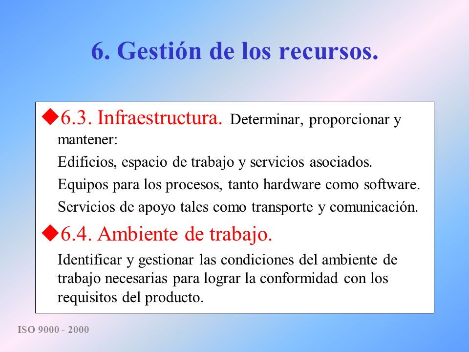 6. Gestión de los recursos.