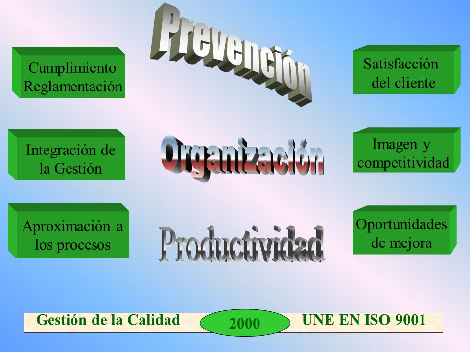 Prevención Organización Productividad Satisfacción del cliente