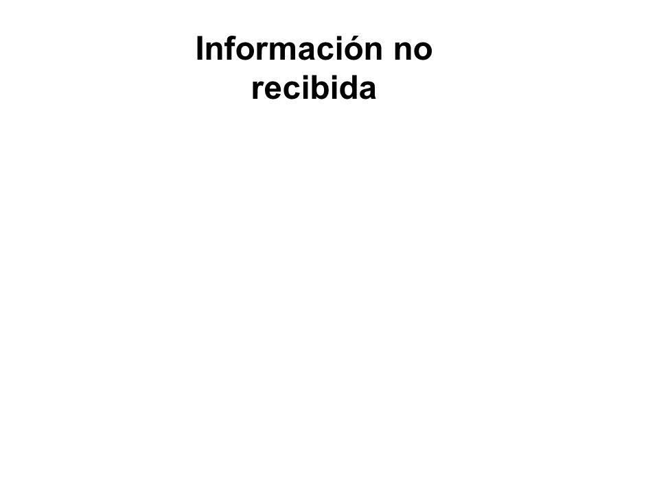 Información no recibida