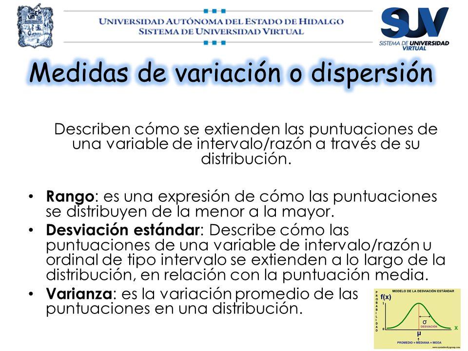 Medidas de variación o dispersión
