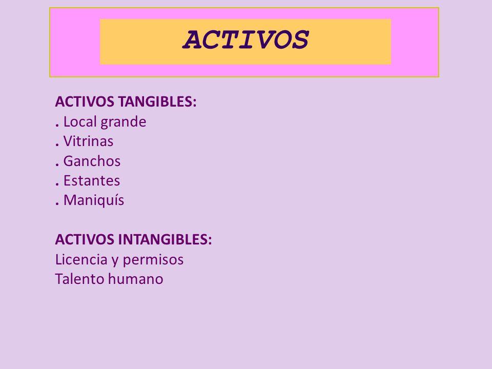 ACTIVOS ACTIVOS TANGIBLES: . Local grande . Vitrinas . Ganchos