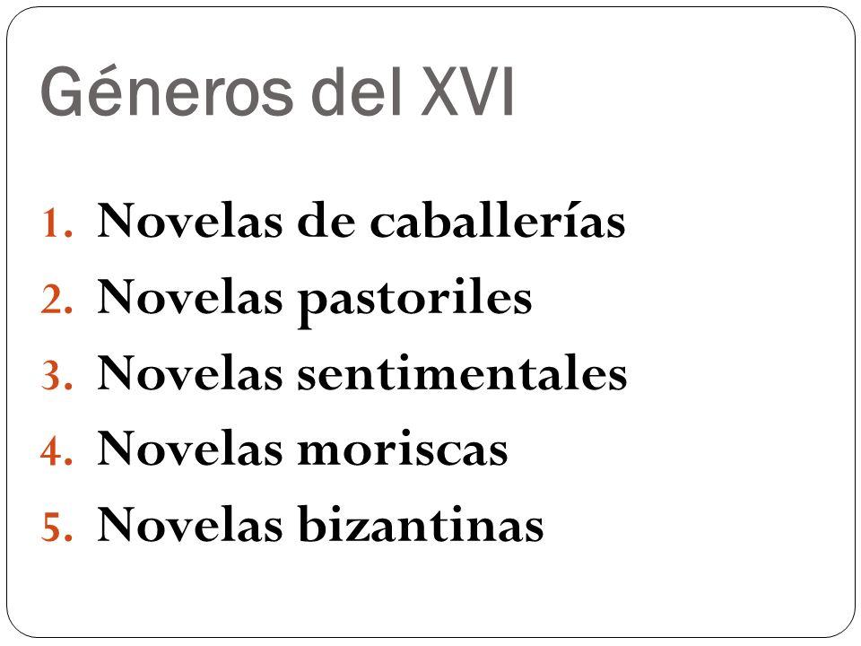 Géneros del XVI Novelas de caballerías Novelas pastoriles