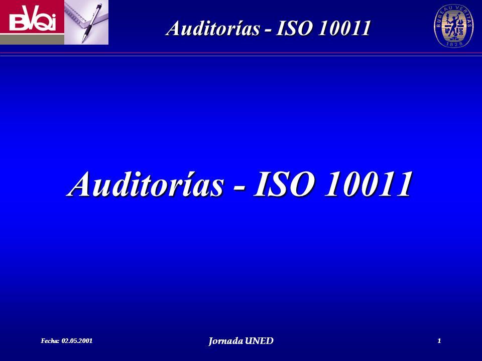 Auditorías - ISO 10011 Fecha: 02.05.2001 Jornada UNED