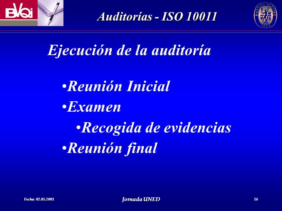 Ejecución de la auditoría Reunión Inicial Examen