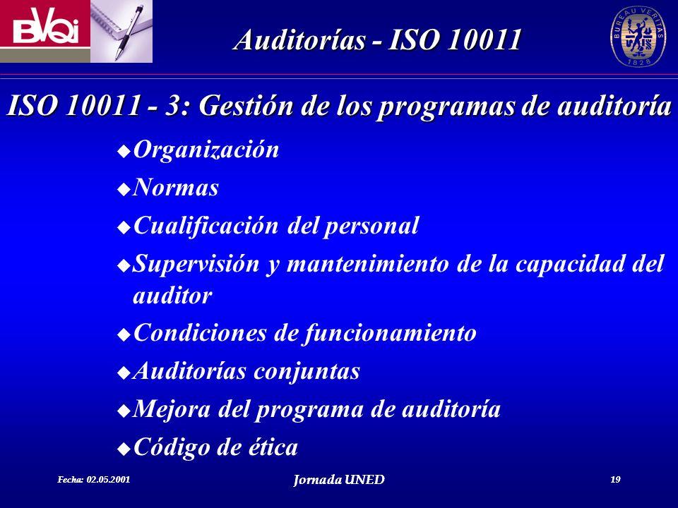 ISO 10011 - 3: Gestión de los programas de auditoría
