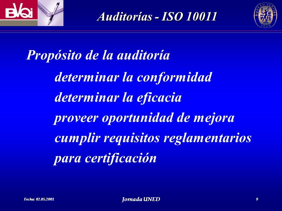 Propósito de la auditoría determinar la conformidad