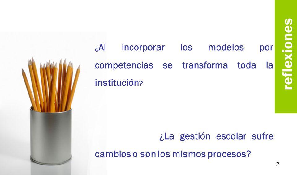 reflexiones ¿Al incorporar los modelos por competencias se transforma toda la institución
